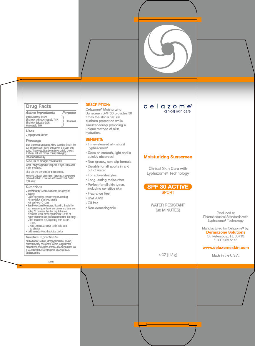 Celazome Moisturizing Spf 30 Active (Oxybenzone, Octinoxate, Octisalate, And Homosalate) Cream [Dermazone Solutions, Inc.]