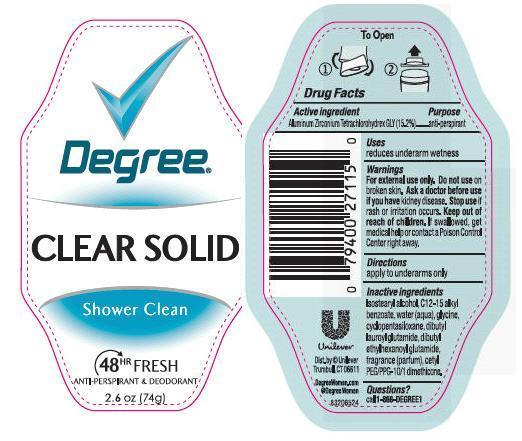 Degree Clear Solid Shower Clean Antiperspirant And Deodorant (Aluminum Zirconium Tetrachlorohydrex Gly) Stick [Conopco Inc. D/b/a Unilever]