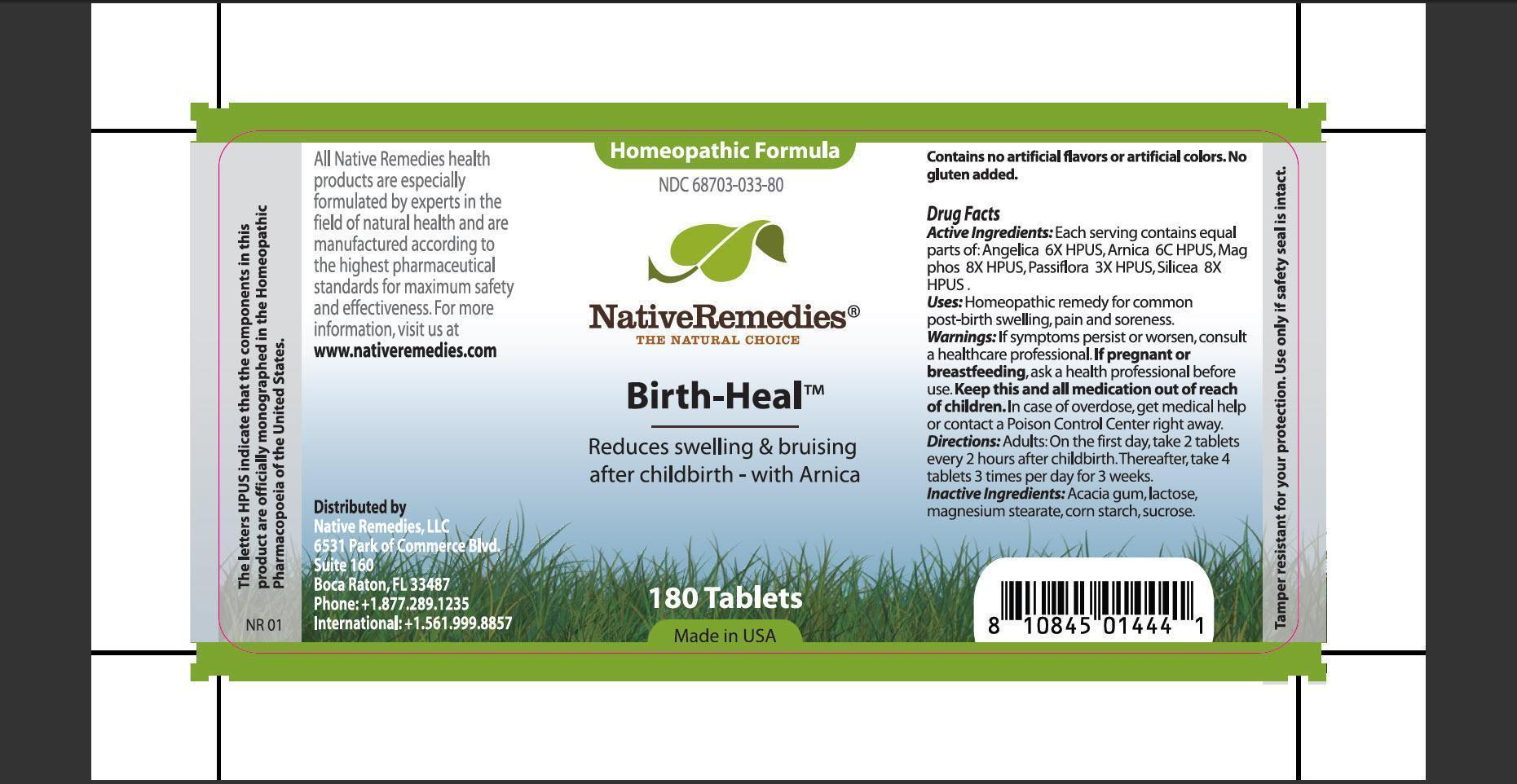 Birth-heal (Angelica, Arnica, Mag Phos, Passiflora, Silicea) Tablet [Native Remedies, Llc]