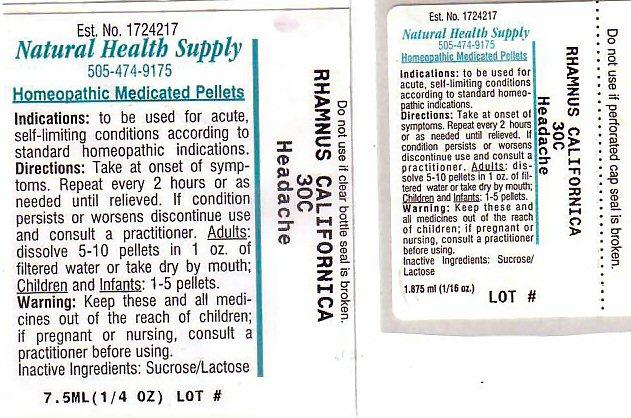 Headache (Frangula Californica Bark) Pellet [Natural Health Supply]