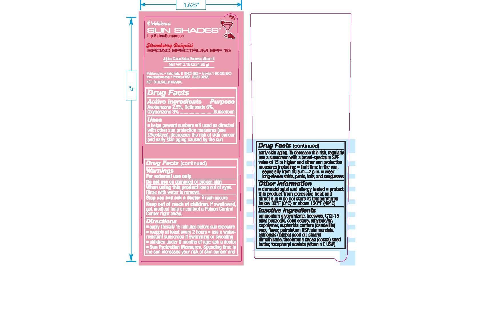 Sun Shades Lip Balm Strawberry Daiquiri (Avobenzone 2.5%, Octinoxate 6%, Oxybenzone 3%) Stick [Melaleuca Inc.]
