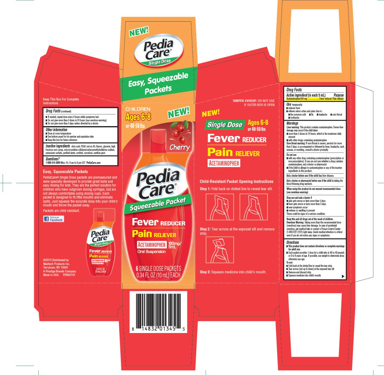 Children Ages 6-8 or 48-59 lbs PediaCare Squeezable Packet Fever Reducer Pain Reliever Acetaminophen  160mg/5mL Oral Suspension 6 Single Dose Packets 0.34 FL OZ (10 mL) EACH
