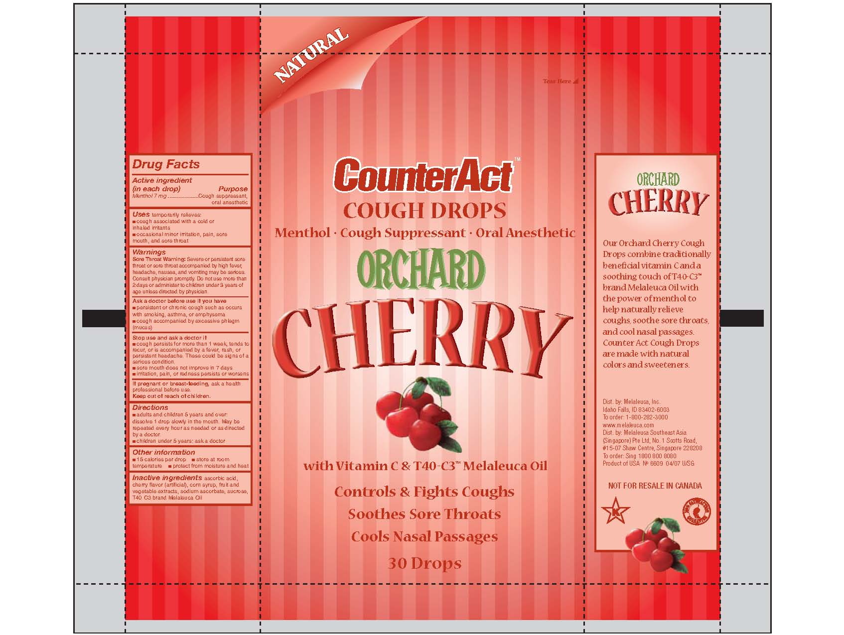 Counteract Cough Drops Orchard Cherry (Menthol) Lozenge [Melaleuca, Inc.]