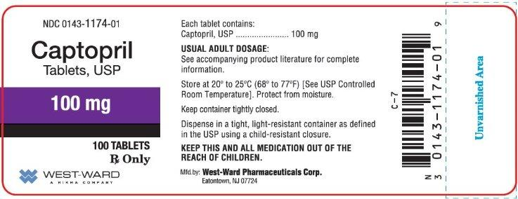 NDC 0143-1174-01 Captopril Tablets, USP 100 mg 100 Tablets Rx Only