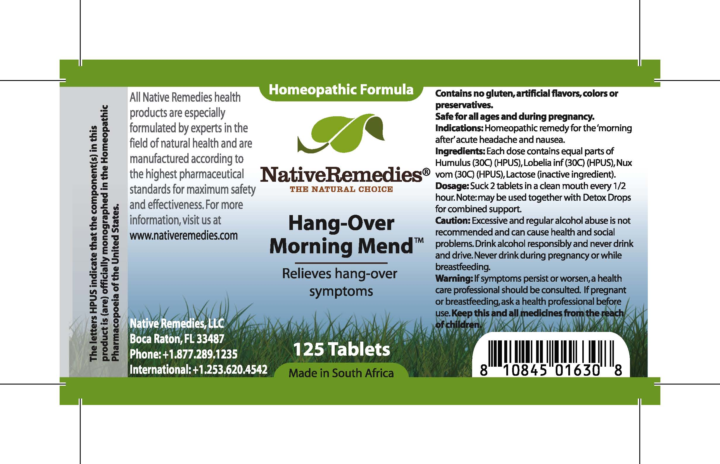 Hang-over Morning Mend (Humulus , Lobelia Inf , Nux Vom , Lactose ) Tablet [Feelgood Health]