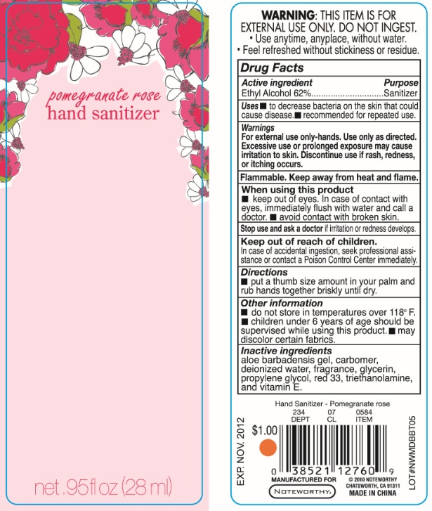 Pomegranate Rose Hand Sanitizer (Ethyl Alcohol) Liquid [Papermates, Inc. Dba Noteworthy]