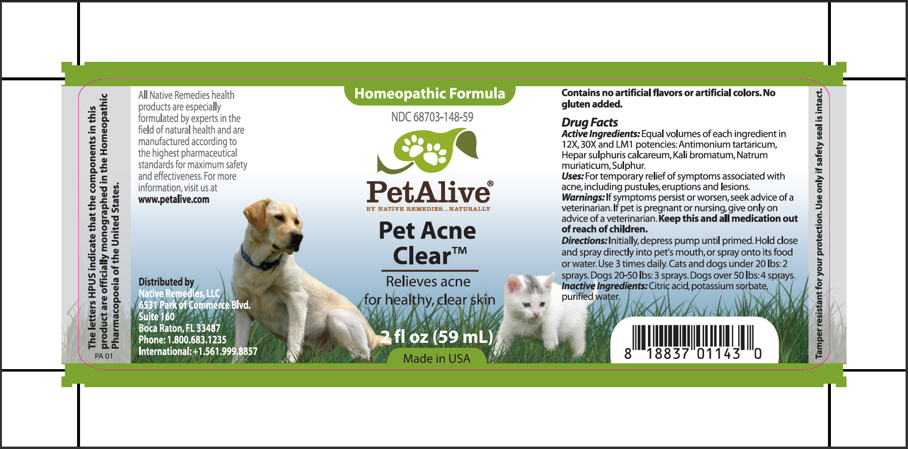 Pet Acne Clear (Antimonium Tartaricum, Hepar Sulphuris Calcareum, Kali Bromatum, Natrum Muriaticum, Sulphur) Spray [Native Remedies, Llc]