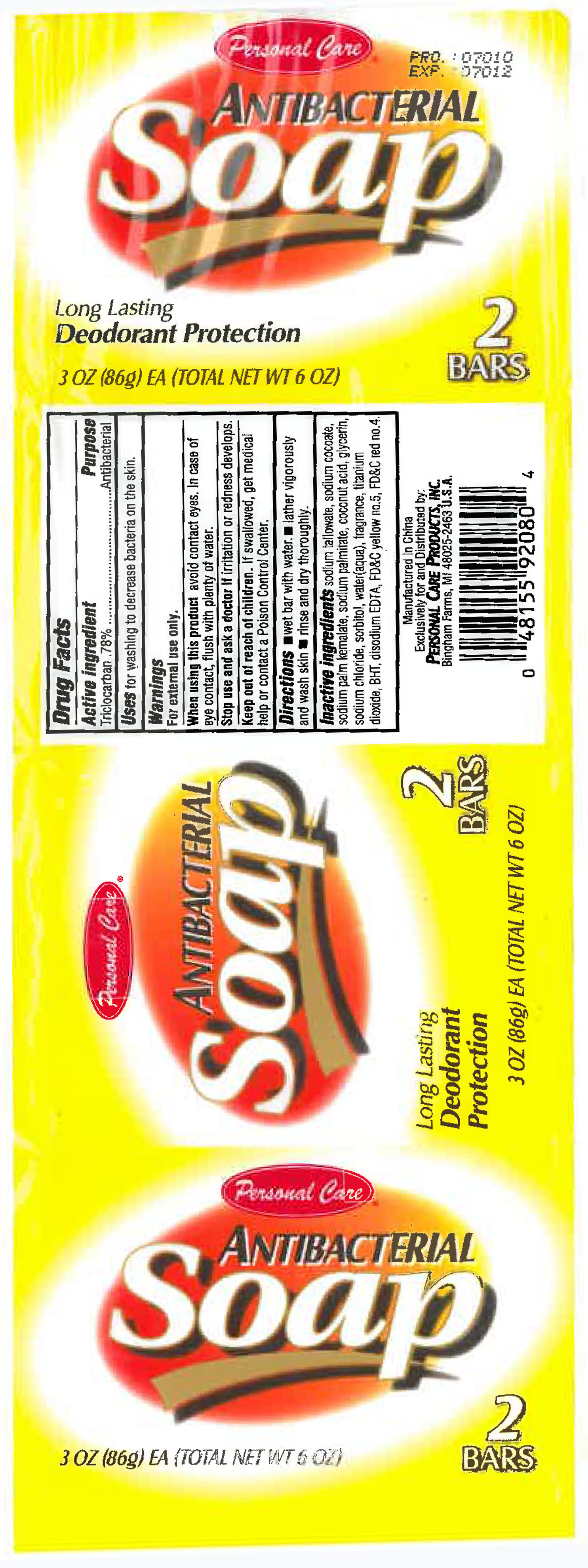Personal Care Antibacterial (Triclocarben) Soap [Personal Care Products Llc]