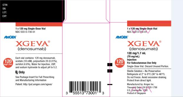 PRINCIPAL DISPLAY PANEL	 1 x 120 mg Single Use Vial NDC 55513-730-01 AMGEN® XGEVA® (denosumab) 120 mg/1.7 mL (70 mg/mL) Injection For Subcutaneous Use Only 120 mg/1.7 mL Single Use Vial.  Discard Unused Portion. Sterile Solution – No Preservative Refrigerate at 2° to 8°C (36° to 46°F). Do not freeze. Avoid excessive shaking.  Protect from direct light. Manufactured by: Amgen Inc.  Thousand Oaks, CA 91320-1799 U.S. License No. 1080