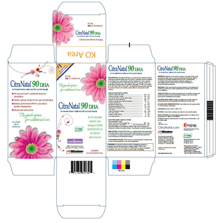 Citranatal 90 Dha (Vitamin C, Calcium, Iron, Vitamin D3, Vitamin E, Thiamin, Riboflavin, Niacinamide, Vitamin B6, Folic Acid, Iodine, Zinc, Copper, Docusate Sodium) Tablet [Mission Pharmacal Company]