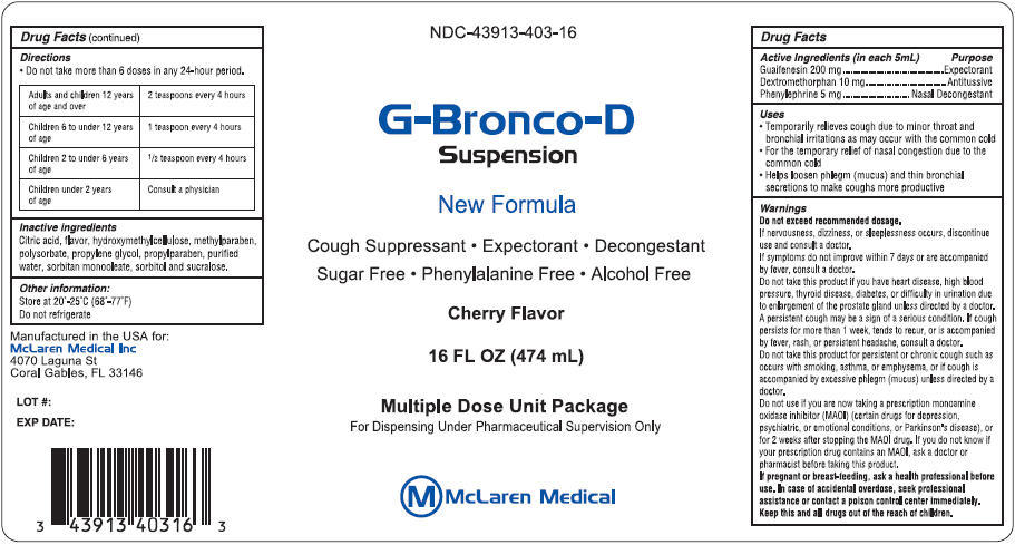 G-bronco-d (Guaifenesin, Dextromethorphan Hydrobromide, And Phenylephrine Hydrochloride) Suspension [Mclaren Medical Inc]