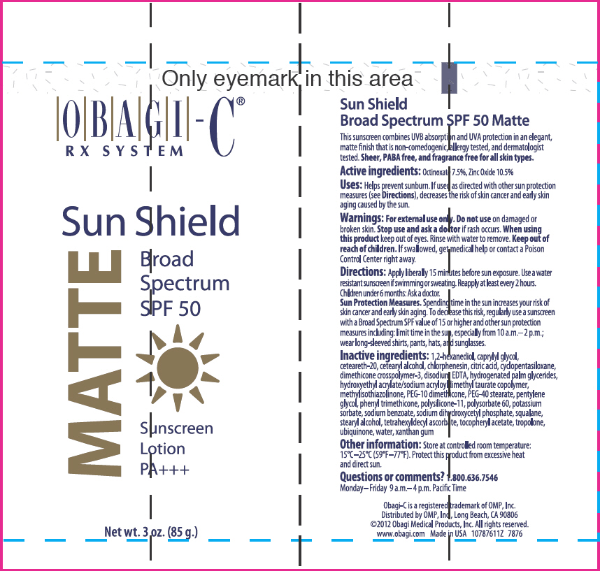 Obagi-c Rx System Sun Shield Broad Spectrum Spf 50 Matte Sunscreen (Octinoxate And Zinc Oxide) Lotion [Omp, Inc.]
