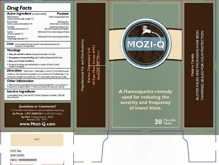 Mozi-q (Ledum Palustre Twig, Urtica Urens, Simaba Cedron Seed, Delphinium Staphisagria Seed, Grindelia Hirsutula Flowering Top) Tablet, Chewable [Xerion Dispensary Ltd.]