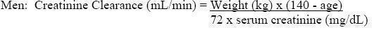 Creatinine Clearance Formula