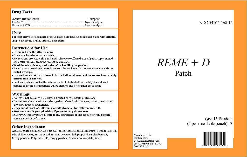 Reme D (Menthol, Capsaicin) Patch [Geritrex Corp]