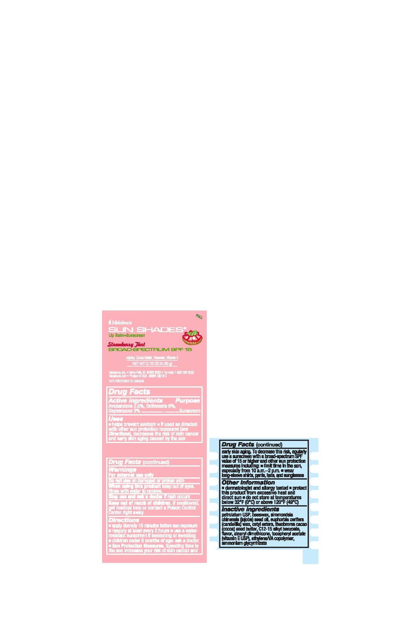 Sun Shades Lip Balm Strawberry Tart (Avobenzone 2.5%, Octinoxate 6%, Oxybenzone 3%) Stick [Melaleuca Inc.]