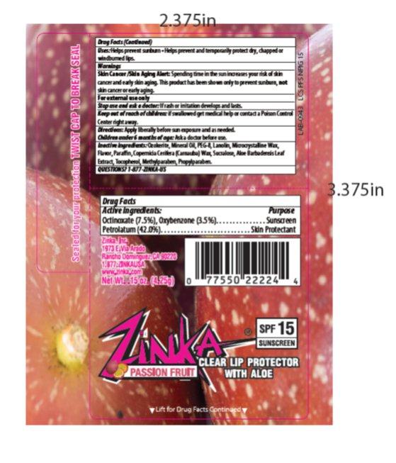 Zinka Passion Fruit Spf 15 Lip Balm (Oxybenzone, Octinoxate, Petrolatum) Stick [Zinka]