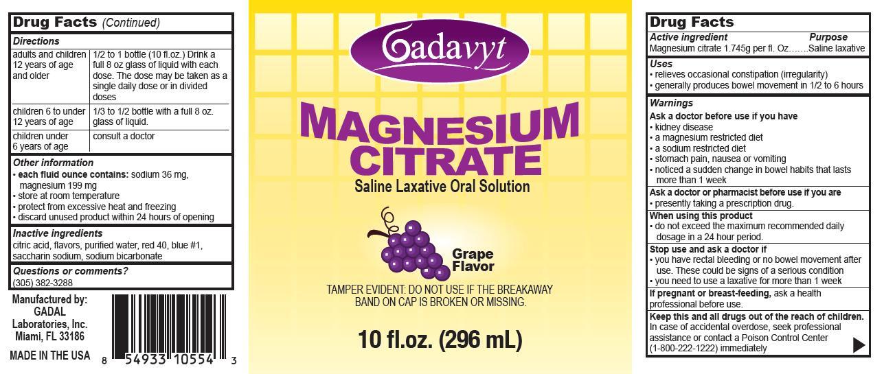 Gadavyt (Magnesium Citrate) Liquid [Gadal Laboratories Inc]