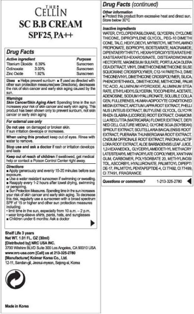 The Cellin Sc Bb Cream Spf 25 Pa (Titanium Dioxide) Cream [Cellinbio Co Ltd]