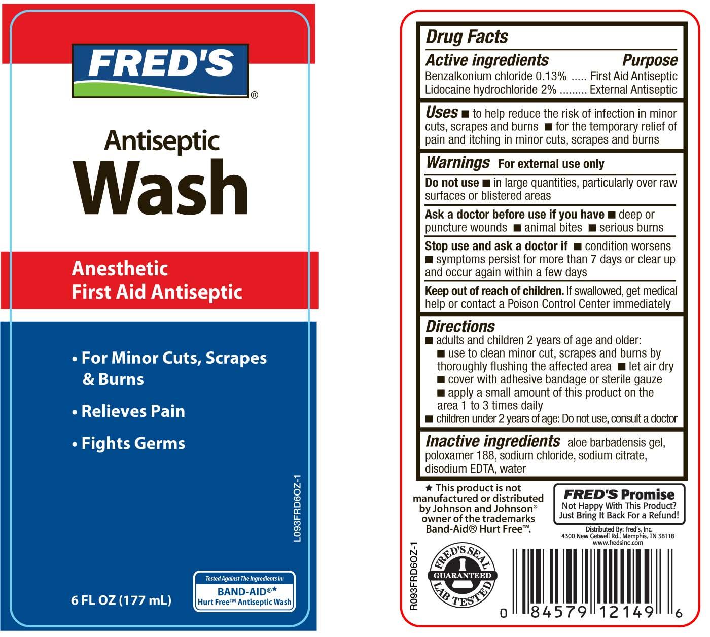 Freds Antiseptic Wash (Benzalkonium Chloride And Lidocaine Hydrochloride) Liquid [Pharma Pac, Llc]