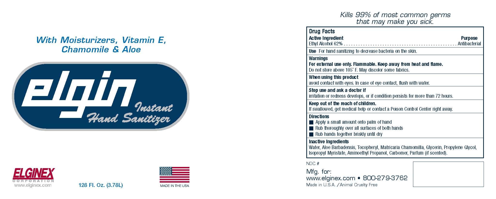 Elgin Instant Hand Sanitizer (Ethyl Alcohol) Gel [Eco-logics, Inc.]