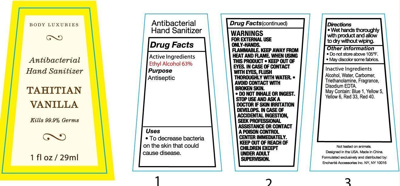 Body Luxuries Tihitian Vanilla Antibacterial Hand Sanitizer (Alcohol) Liquid [Enchante Accessories Inc. ]