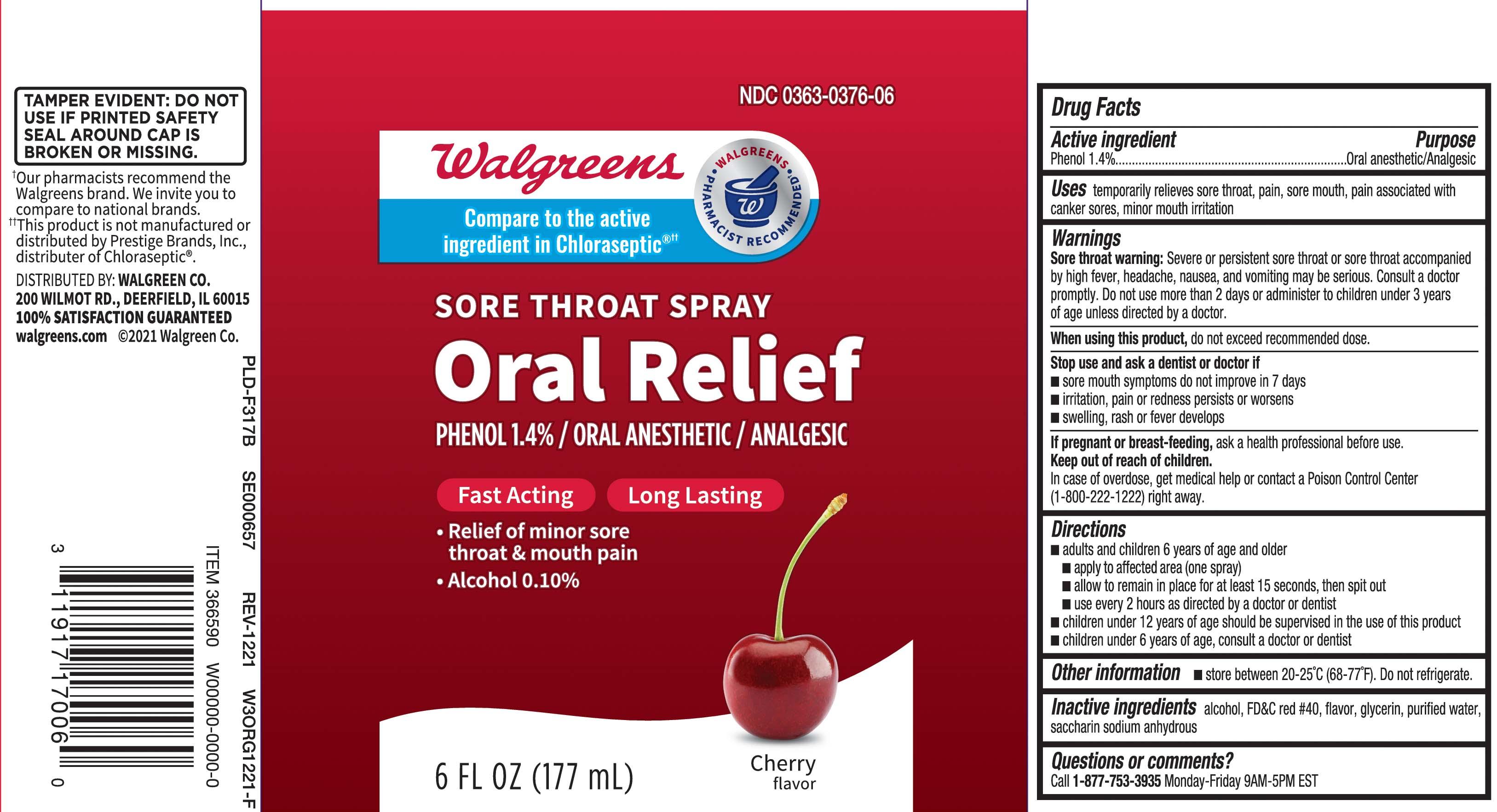 Sore Throat Cherry (Phenol) Spray [Walgreens]