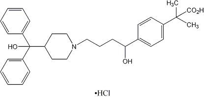 Fexofenadine HCL Chemical Structure.