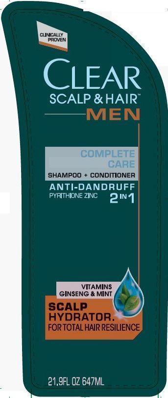 Clear Men 2 In 1 Complete Care Antidandruff (Pyrithione Zinc) Shampoo [Conopco Inc. D/b/a Unilever]