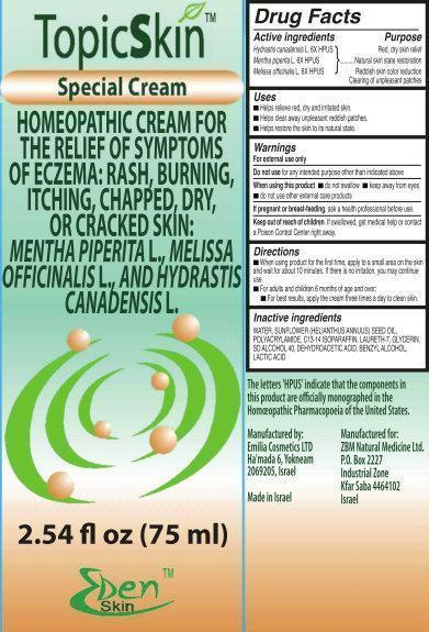 Topicskin (Hydrastis Canadensis Whole, Mentha Piperita, Melissa Officinalis) Cream [Zbm Natural Medicine Ltd.]
