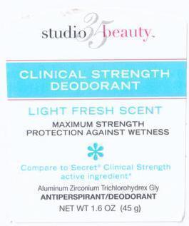 Studio 35 Beauty Clinical Strength (Aluminum Zirconium Trichlorohydrex Gly) Stick [Walgreen Company]