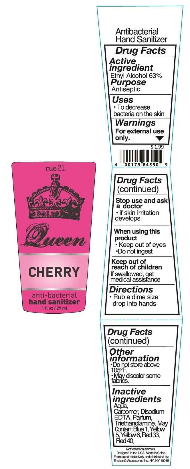 Rue 21 Queen Cherry Anti Bacterial Hand Sanitizer (Alcohol) Liquid [Enchante Accessories Inc. ]