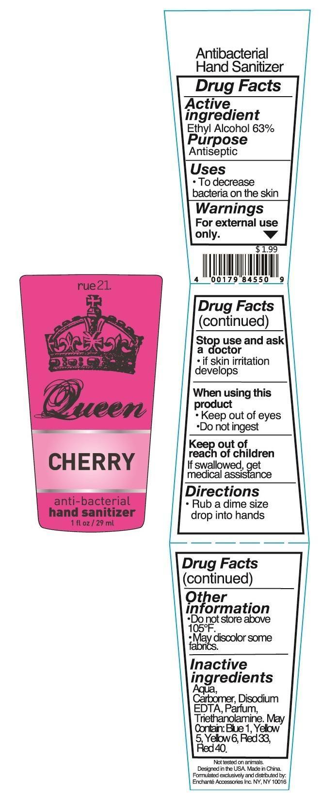 Rue 21 Queen Cherry Anti Bacterial Hand Sanitizer (Alcohol) Liquid [Enchante Accessories Inc. ]