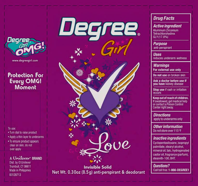 Degree Girl Love Antiperspirant And Deodorant (Aluminum Zirconium Tetrachlorohydrex Gly) Stick [Conopco Inc. D/b/a Unilever]