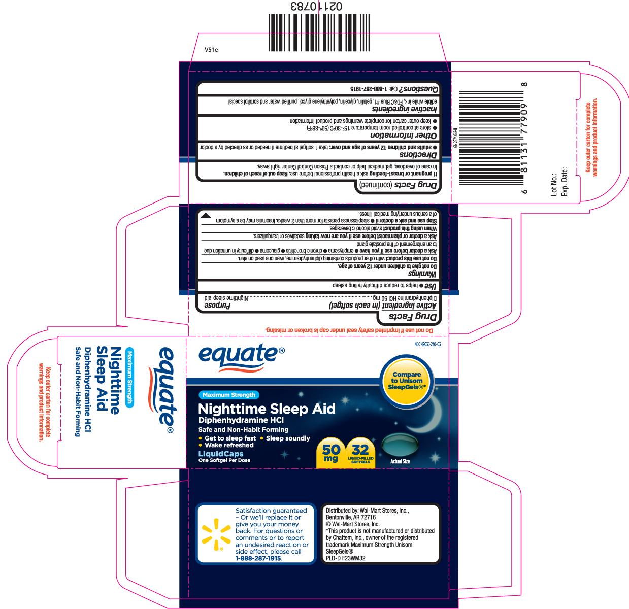 Nighttime Sleep Aid Maximum Strength (Diphenhydramine Hcl) Capsule [Equate (Walmart Stores, Inc.)]