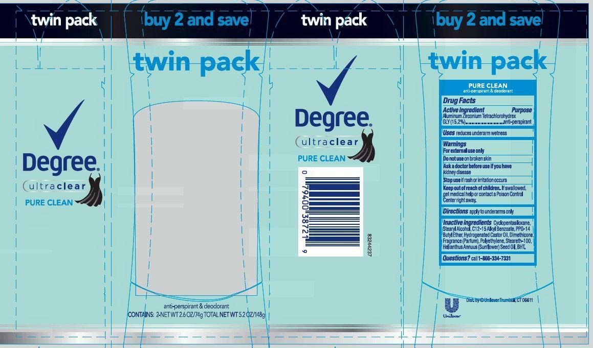 Degree Pure Clean Antiperspirant And Deodorant (Aluminum Zirconium Tetrachlorohydrex Gly) Stick [Conopco Inc. D/b/a Unilever]
