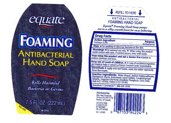 Antibacterial Foaming (Triclosan) Liquid [Wal-mart Stores Inc]