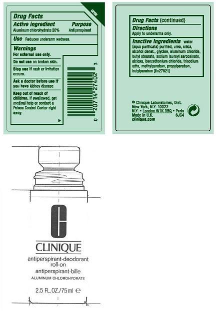 Clinique Antiperspirant Deodorant Roll-on (Aluminum Chlorohydrate) Liquid [Clinique Laboratories Inc]