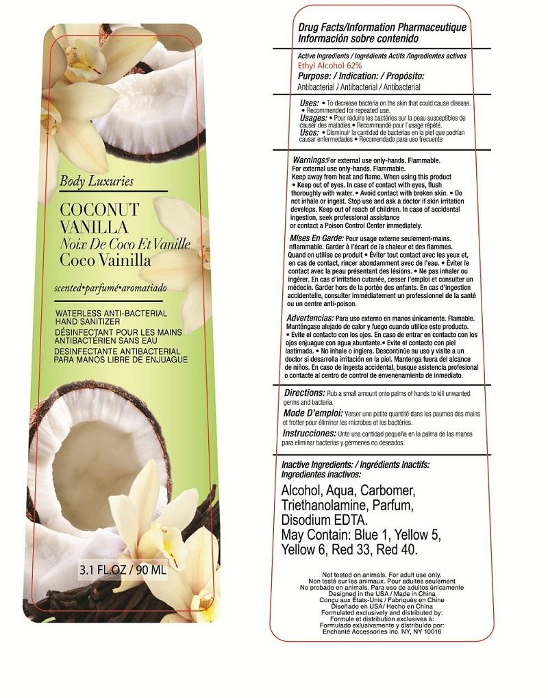 Body Luxuries Coconut Vanilla Waterless Anti-bacterial Hand Sanitizer (Alcohol) Liquid [Enchante Accessories Inc. ]