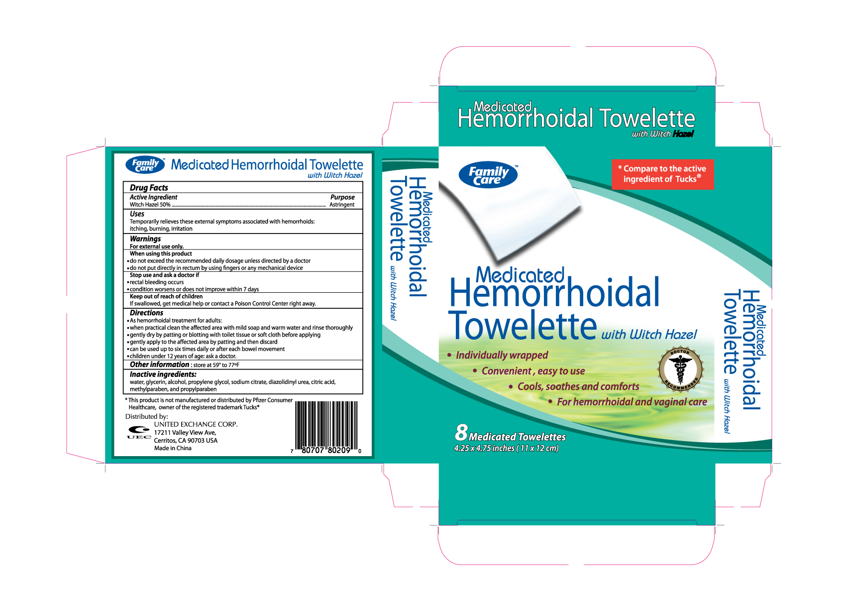 Family Care Medicated Hemorrhoidal (Witch Hazel) Cloth [United Exchange Corporation]