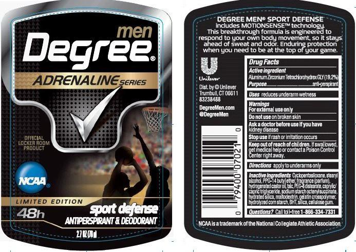 Degree Adrenaline Sport Defense Antiperspirant And Deodorant (Aluminum Zirconium Tetrachlorohydrex Gly) Stick [Conopco Inc. D/b/a Unilever]