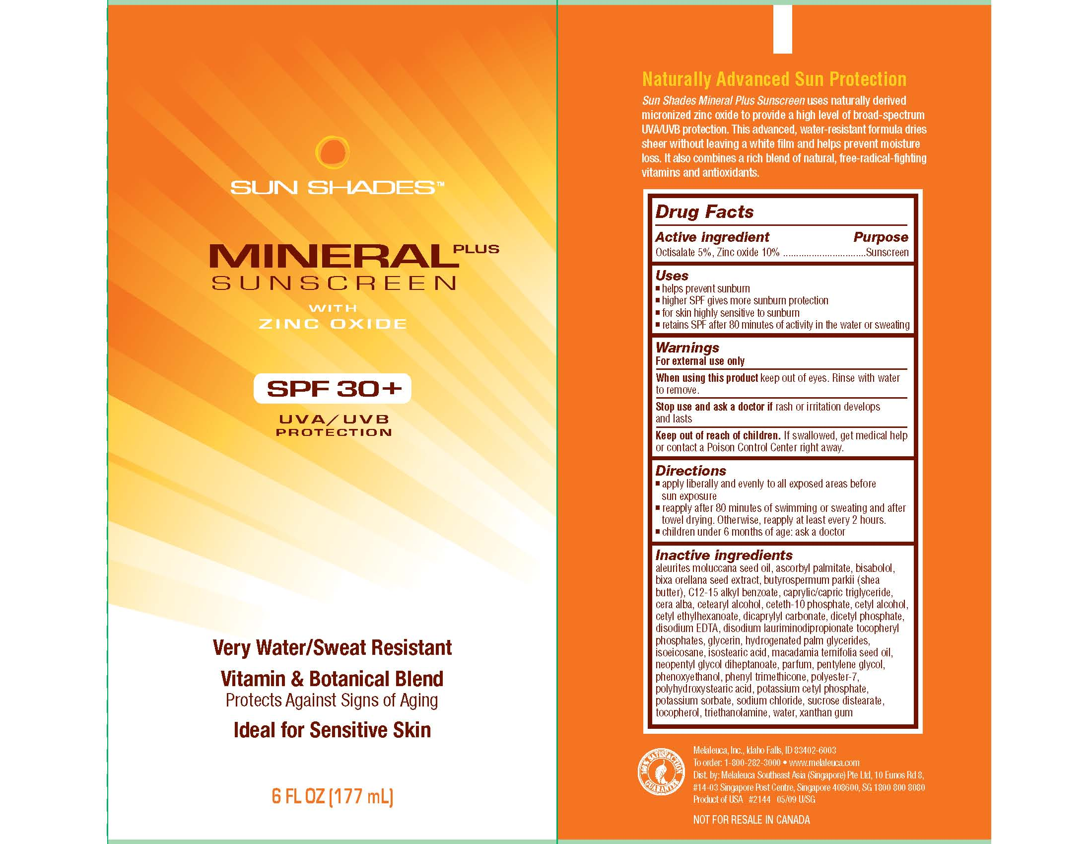 Sun Shades Mineral Plus Sunscreen (Octisalate And Zinc Oxide) Cream [Melaleuca, Inc.]