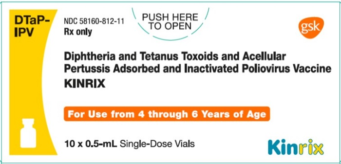 Kinrix (Diphtheria And Tetanus Toxoids And Acellular Pertussis Adsorbed And Inactivated Poliovirus Vaccine) Injection, Suspension [Glaxosmithkline Biologicals Sa]