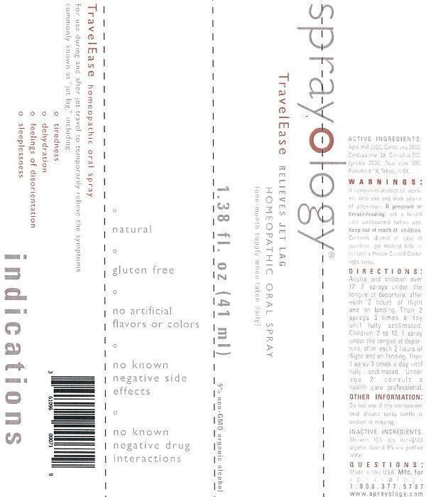 Sprayology Travelease (Apis Mellifica, Carbo Vegetabilis, Carduus Marianus, Cocculus Indicus, Ignatia Amara, Nux Vomica, Passiflora Incarnata, Tabacum) Liquid [Eight And Company]