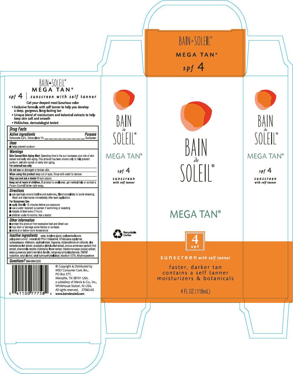 Bain De Soleil Mega Tan Spf 4 (Octinoxate And Octocrylene) Lotion [Msd Consumer Care, Inc.]