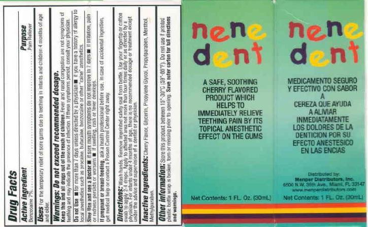 Nene Dente (Benzocaine) Liquid [Menper Distributors, Inc]