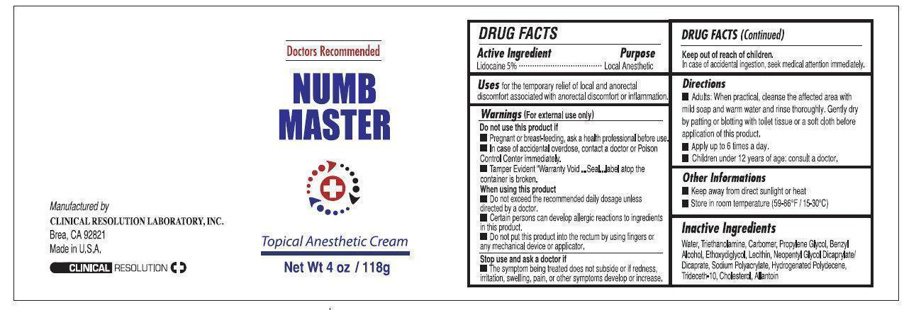 Numb Master Topical Anesthetic (Lidocaine) Cream [Clinical Resolution Laboratory, Inc.]