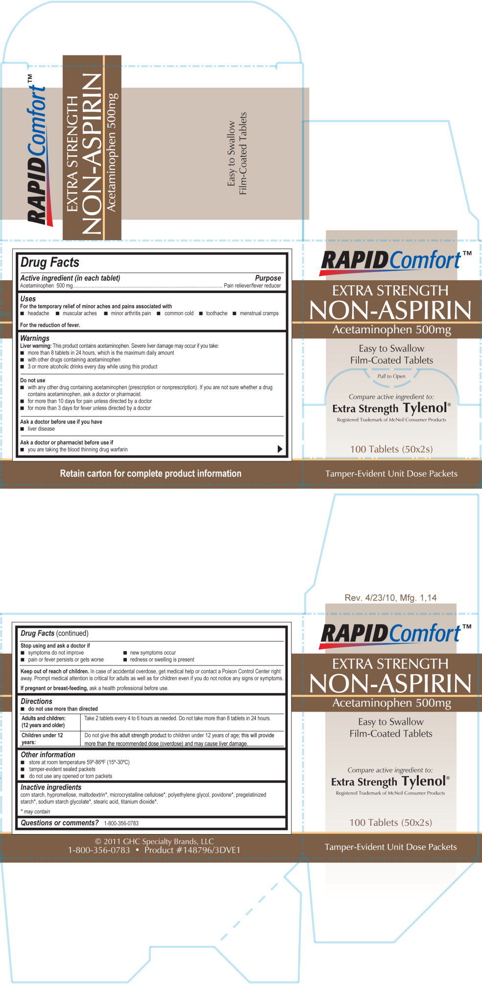 Rapid Comfort Extra Strength Non Aspirin (Acetaminophen) Tablet, Film Coated [Lab Safety Supply, Inc.]