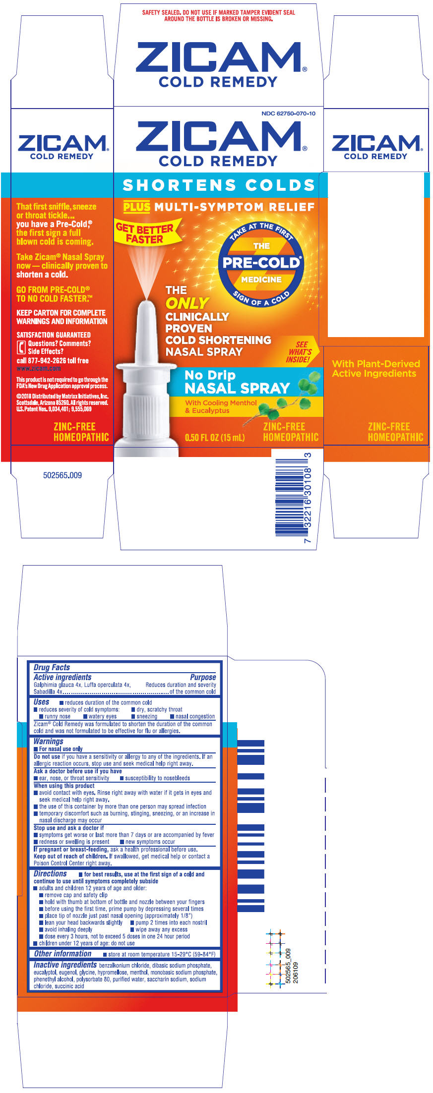 Zicam Cold Remedy (Galphimia Glauca Flowering Top, Luffa Operculata Fruit, And Schoenocaulon Officinale Seed) Spray [Matrixx Initiatives, Inc.]
