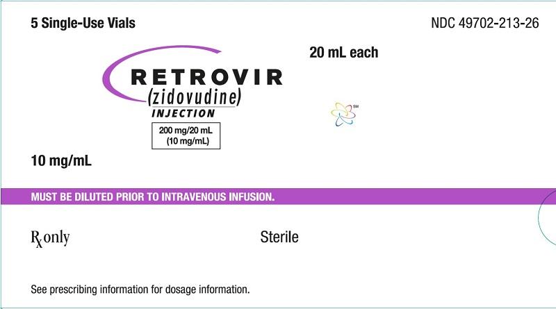 Retrovir IV 20 mL vial 5 count carton